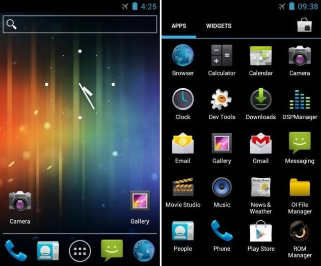 Android 4.0 Ice Cream Sandwich (ICS) pe Samsung galaxy S i9000